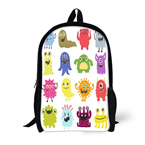 Pinbeam Backpack Travel Daypack Cartoon Cute Monster Color Character Funny Face Bacteria Waterproof School Bag ()
