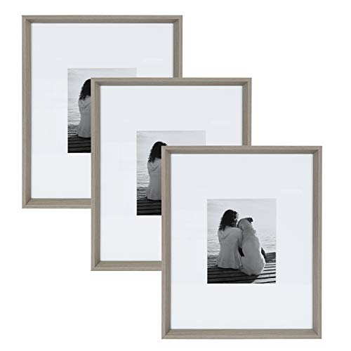 Kate and Laurel Calter Modern Wall Picture Frame Set, Gray 16x20 matted to 8x10, Pack of 3