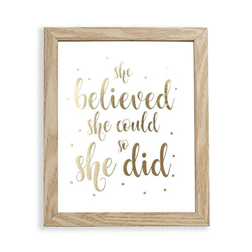 Fully Framed She Believed She Could So She Did Gold Foil Art Print Inspirational Wall Art 9