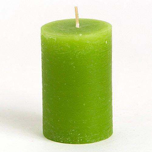 """[Set of 6] 2"""" x 3"""" Green Pillar Candles Unscented Handpou..."""
