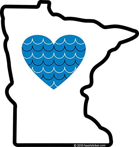 Heart in Minnesota Sticker Vinyl Decal Label Stickers, Die-Cut Shape for Water Bottle Laptop Luggage Bike Laptop Car Bumper Helmet Waterproof Show Love Pride Local Spirit ()