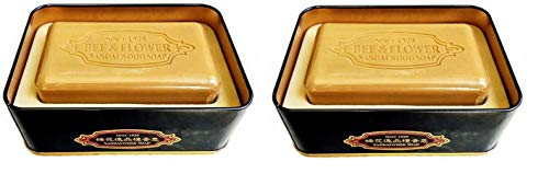 (Bee & Flower Sandalwood Soaps (Premium Sandalwood with Shea Butter Bar Soap in Metal Tin, 150g x2 Tins))
