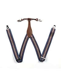 Enwis Mens Suspenders Braces Polyester Elastic Clip-on Striped Blue Grey