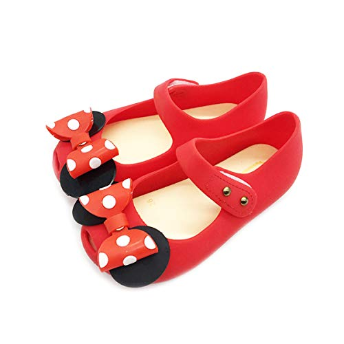 Girls Sweet Mary Jane Flat Princess Sandals Jelly Shoes Toddler Kids Bow Tie with Dots Holiday Christmas Red -