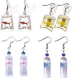 PPX 4 Pairs Funny Acrylic Goldfish and Water Bottle Pendant Earrings, Water Bag Shape Dangle Hook Earrings for Girls Women Bohemian Creative Unique