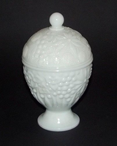 Milk Glass Candy Dish - Avon White Milk Glass Candy Dish with Lid