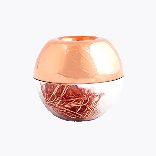 Clips Copper Paper (MultiBey NE0600607  Light Luxury Fashion Paper Clips, Rose Gold Edition, In Round Paper Clip Holder With Magnetic Lid, 28 mm, 100 Piece Per Box)