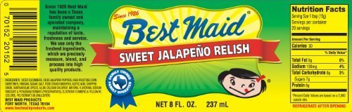 (Best Maid Sweet Jalapeno Relish 8oz Jar (Pack of 3) by Best Maid Products)