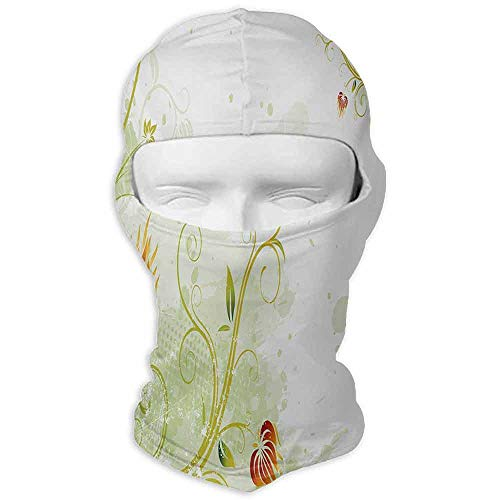 Fishing Mask Multipurpose Floral Swirled Petals Lines on Grunge Background Retro Scroll Botany Design Pale Green Pistachio Ruby ()