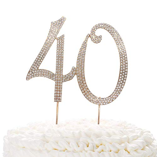 40 Gold Cake Topper | Premium Sparkly Crystal Rhinestones | 40th Birthday or Anniversary Party Decoration Ideas | Quality Metal Alloy | Perfect Keepsake -