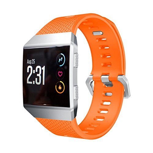 Price comparison product image Sympath Soft Silicone Replacement Sport Band Strap For Fitbit Ionic Smart Fitness Watch(Orange)