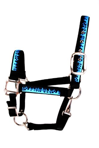 (Red Haute Horse BF1402 S Equine Elite Horse Halter, Blue Flames)
