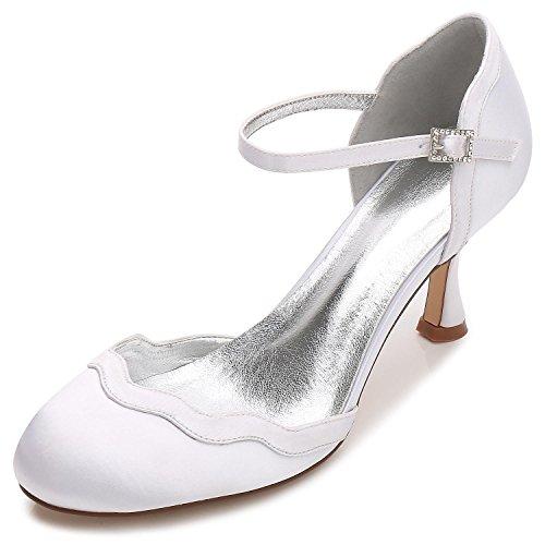 Elegant high shoes Zapatos de Boda de Las Mujeres T17061-54 Partido de Seda Y Punta Plana Hebilla de Tacón Bajo/Multicolor White