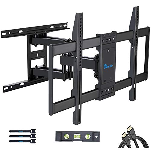Rentliv Full Motion TV Wall Mount Bracket with Dual Articulating Arms Swivels Tilts Rotation for Most 37-70 Inch TVs,TV…