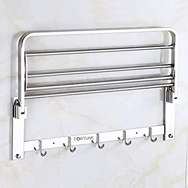 Fortune Luxurious Stainless Steel Folding Towel Rack | Towel Stand | Towel Hanger | Towel Holder | Rack Shelf | Bathroom Accessories (Square) - (24 inch) 11