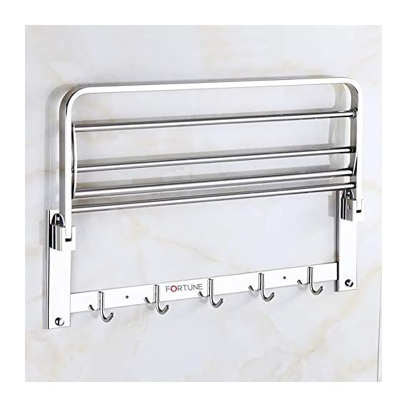 Fortune Luxurious Stainless Steel Folding Towel Rack | Towel Stand | Towel Hanger | Towel Holder | Rack Shelf | Bathroom Accessories (Square) - (24 inch) 4