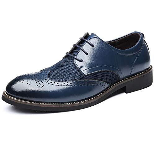 FOXSENSE Premium Genuine Leather Cap-Toe Brogue Oxford Shoes with Mesh for Men Blue 10US 45 A827