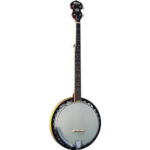 Washburn Americana Series 5-String Banjo, 22 Frets, Mahogany Neck, Rosewood Fretboard, Remo Top, Sunburst Gloss