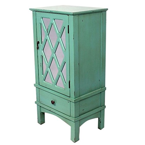 Heather Ann Creations The Cottage Collection Modern Style Wooden Living Room Single Door and Drawer Accent Cabinet with Glass Lattice Inserts, Turquoise - Cottage Collection Drawer Chest