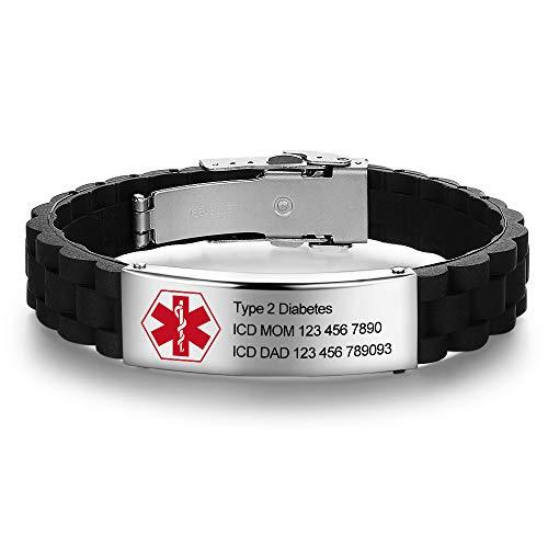 Tian Zhi Jiao Custom Engraved Medical Alert Bracelets Stainless Steel Name Bracelets Personalized Silicone Medical ID Bracelets for Men Women
