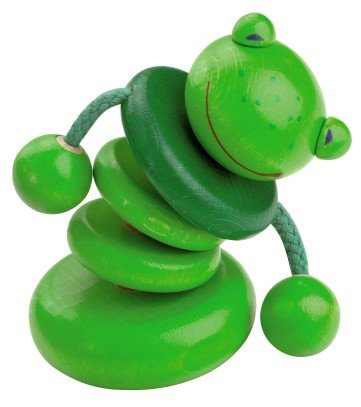 HABA Croo-ak Frog Rattling Clutching Toy (Made in Germany)