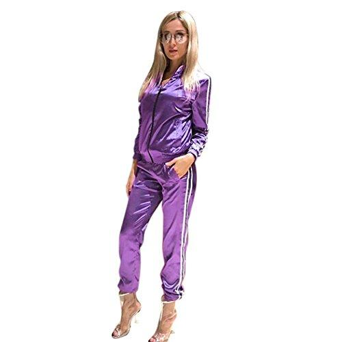 Women's 2 Piece Tracksuit Lightweight Zip-Up Jacket and Pants Set ( XXL, Purple (Retro Tracksuit)