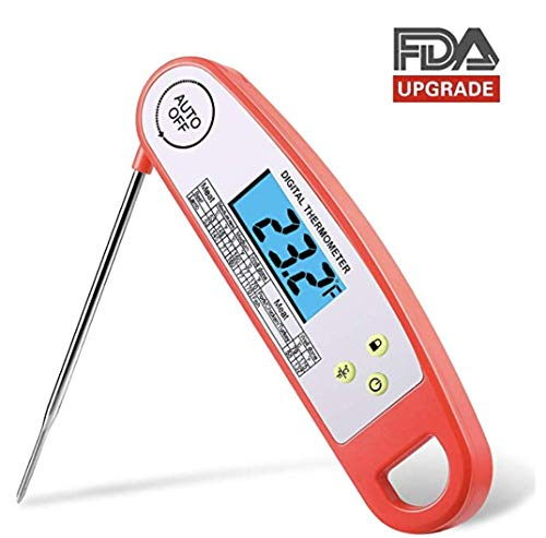Digital Food Thermometer for Kitchen- Instant Read Meat Thermometer w/FDA Certified Auto-off Long Probe Cooking Thermometer for Barbecue Grill Roaster Baking Thermometer with Led Backlight & Battery