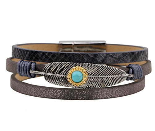 Most Beloved Men Women Turquoise Feather Leather Wax Rope Braided Cuff Bracelet (Estate Costume Vintage Jewelry)