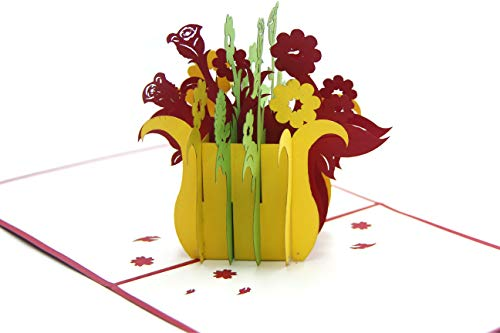 (Colorful Flower Bouquet 3D Paper Pop-up Greeting Card Holiday Gift)