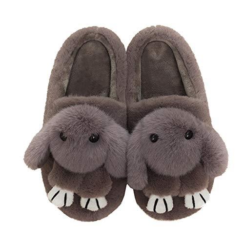 Fur Slipper Winter Fluffy Brown Slippers Soft Rabbit Women Indoor Shoes Outdoor Cute ZOa60HWAq