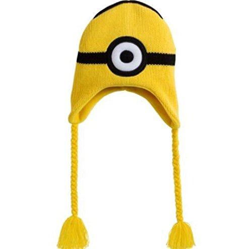 [Despicable Me 2 STEVE Minion Peruvian Beanie Knit Hat Pilot Ski Cap Laplander] (Despicable Me Minion Hats)