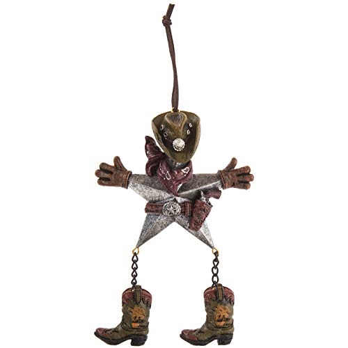 Scout & Company Texas Star Cowboy Hanging Ornament with Dangling Boots | Rustic Resin Country Western Home Decor Gifts for Ranch