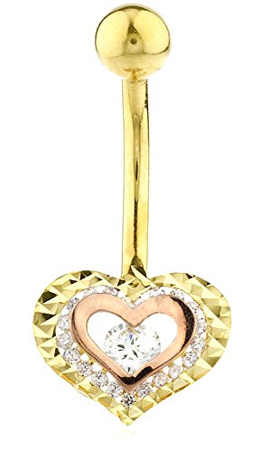 (JOTW 10k Two Tone Gold Belly Button Ring Double Heart CZ Stone (GO-1475) )
