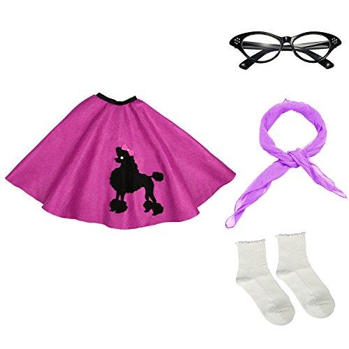 50s Girls Costume Accessory Set - Poodle Skirt, Chiffon Scarf, Cat Eye Glasses,Bobby - 1950s Eyeglasses