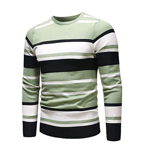 Invierno a Verde de Cuello Larga otoño suéteres Manga Hombres para Rayas Top Alto Fit Jersey de Yvelands Slim aT5HqH