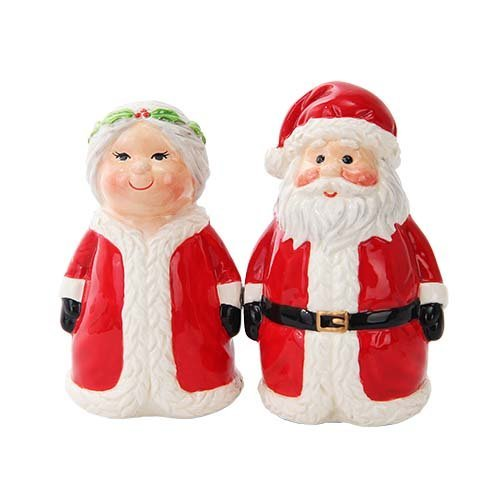 Attractives Christmas Mr Mrs Santa North Pole Winter Ceramic Magnetic Salt Pepper Shakers ()