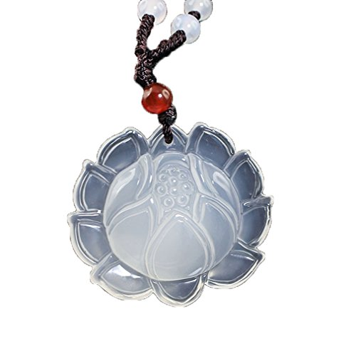 c1lint Pure Natural Agate White Chalcedony Lotus Blessing Lucky Auspicious Necklaces Pendant