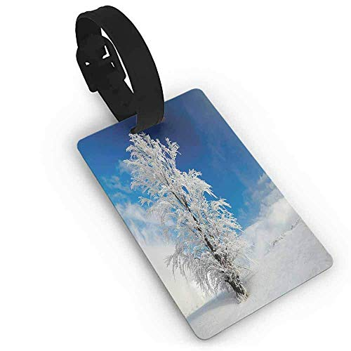 Personalized Luggage Tags Travel Accessories ID Cards Baggage - Lonely Tree on Snow Covered Land Cloudy Sky Rural Scenery January Cold Country