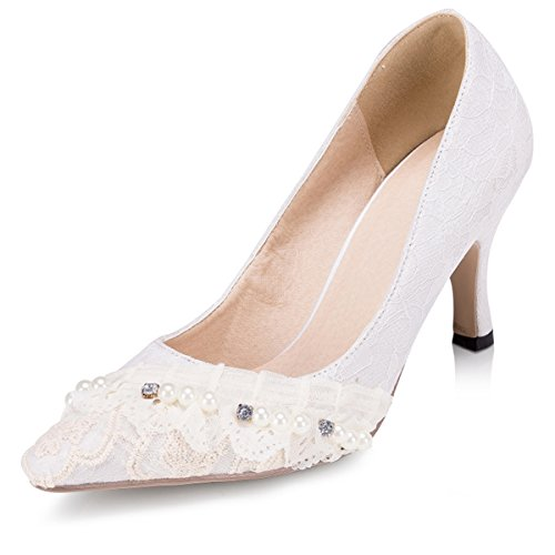 Wedding Lace Pearls Women's Shoes Evening Ivory Party Kevin Bridal Fashion ZMS1540 Pumps Prom OqHOgwU