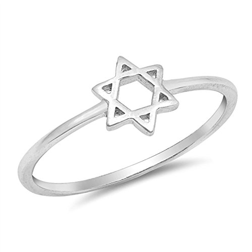 High Polish Star of David Classic Ring New .925 Sterling Silver Band Size 7