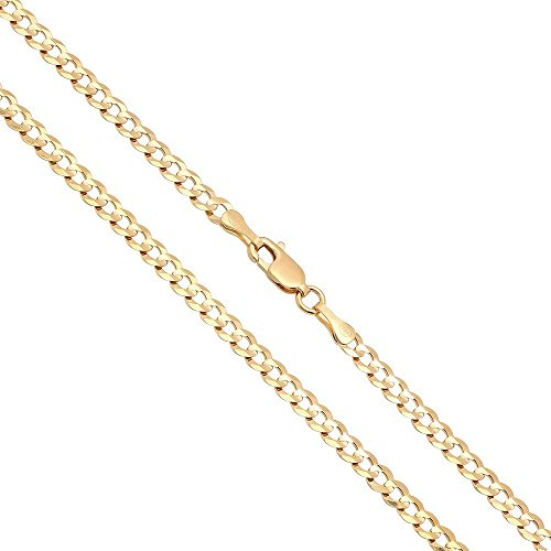 Joule Shop 14K Solid Yellow Gold 3mm Cuban Curb Link Chain Necklace, 16-30