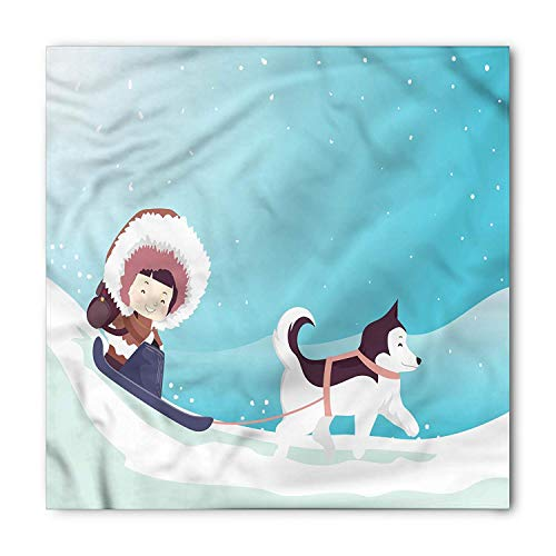 Husky Bandana, Eskimo Girl Riding a Sled, Unisex Head and Neck Tie