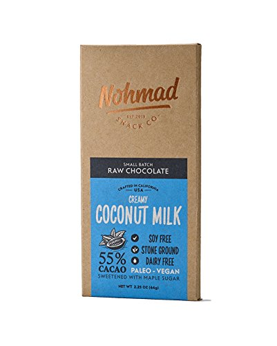 Vegan Coconut Milk Chocolate by Nohmad Snack Co | Organic Soy Free Chocolate Bar with Creamy Coconut Milk | 55% Cacao | Paleo Diet Friendly, Gluten Free, Zero Refined Sugars (2 Pack)