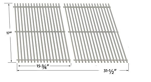 Bass Pro Grill - Stainless Cooking Grid for Kenmore XH1510, XPS DXH-8501, XH1510 & North American Outdoors Bass Pro Shops XH1510, XH1510 Gas Grill Models, Set of 2