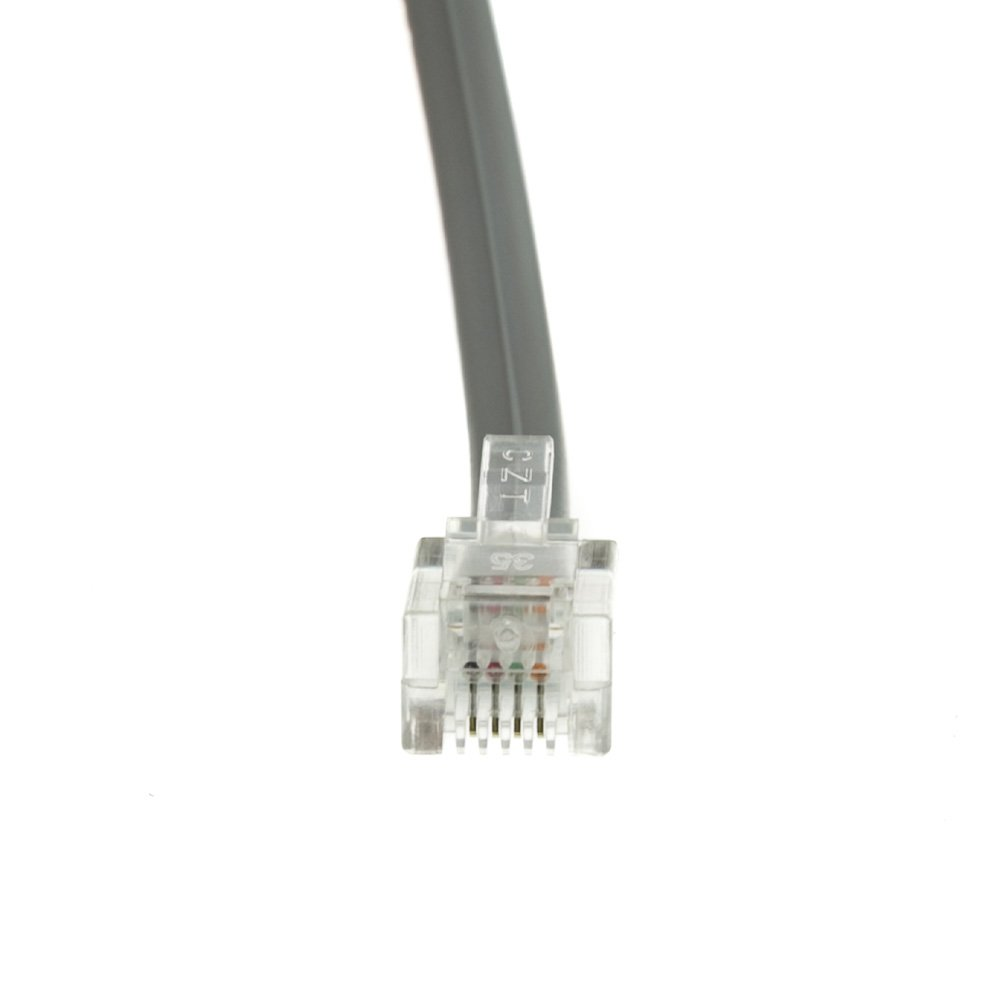 Amazon.com: CableWholesale RJ11 6P/4C Reverse Silver Satin Flat, 1 Foot (Voice)(8101-64201): Computers & Accessories