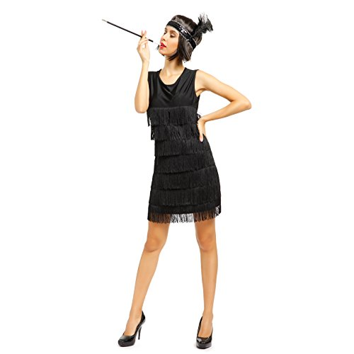 1920s 1930s Ladies Fringed Flapper Costume Flapper Dress + Headpiece (Charleston Black Flapper Costumes)