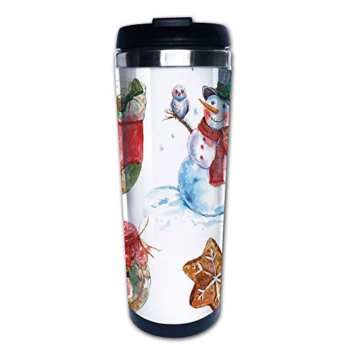 Stainless Steel Insulated Coffee Travel Mug,Snowman with Owl Sock Gingerbread Cookie Decorative,Spill Proof Flip Lid Insulated Coffee cup Keeps Hot or Cold 13.6oz(400 ml) Customizable ()