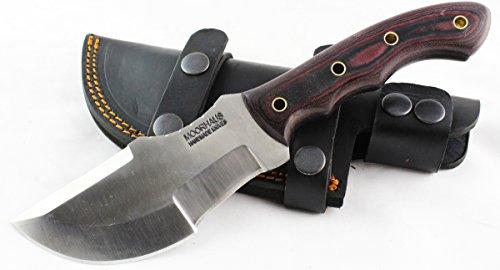 Moorhaus Handmade D2 Tool Steel Tracker Knife with Leather Sheath (Red Micarta)