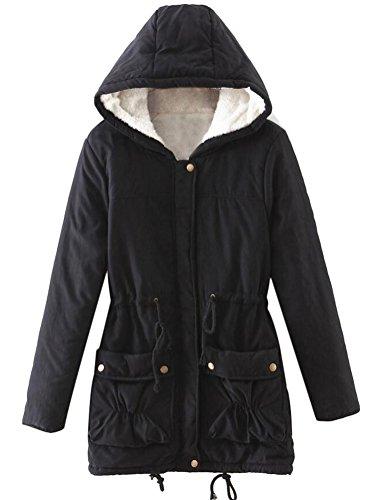 Chaude MILEEO Parka Noir Outwear Coats Collier Femmes Fourrure Slim Fourrure Capuche Veste Winter trTwarq