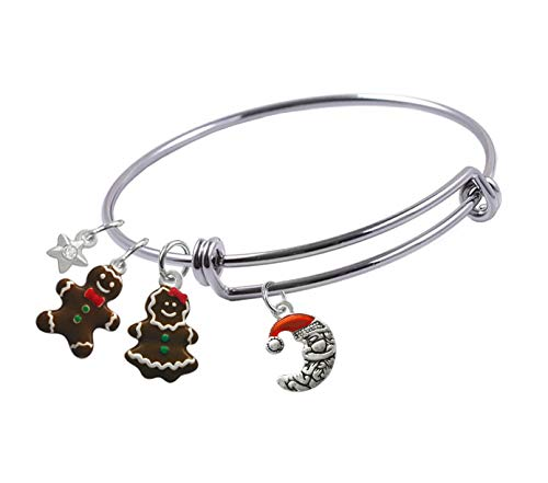 Expandable Bangle bracelet with 2-Sided,Silver Plated, Enameled Crescent Moon Santa,Gingerbread Girl and Boy, and Small Star with Crystal Charms, Qty.1
